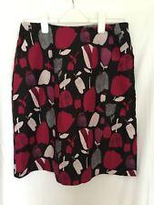 Laura Ashley skirt Size 16 black tulip print knee length pockets linen blend