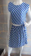 Ensemble Vintage 80's Jupe et Haut Rayé Blanc et Bleu