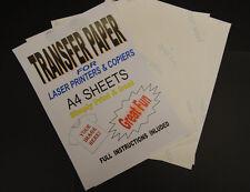 30x A4 Laser & Copiadora T Shirt Transferencia Térmica las hojas de papel para Luz Tejidos
