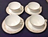 SHEFFIELD VTG IMPERIAL GOLD 504 W LOT OF 4 FLAT CUP & SAUCER SETS GOLD TRIM EUC