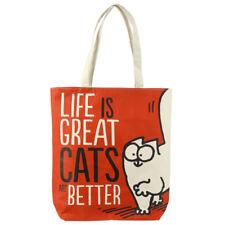 Simon's Cat La vida es genial práctico Algodón Cremallera Mujeres Bolso de viaje de compras