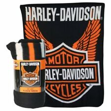 Harley Davidson Wings fleece blanket  throw NEW
