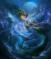 Modern Home art Decor mermaid and Fantasy dragon oil painting Printed on canvas