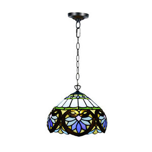 BLUE LOTUS WATER LILIES TIFFANY STYLE PENDANT LAMPS HANDCRAFTED DESIGN SHADE