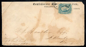 CSA Confederate Treasury Dept Cover w/ SC 11a Milky Blue XF Gem - VA Cancel