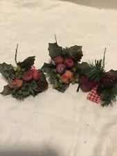 Christmas Lot Artificial Greenery Picks Stems Cones Fruit Berries Apples 3