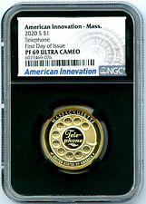 2020 S $1 MA TELEPHONE NGC PF69 PROOF AMERICAN INNOVATION DOLLAR FIRST DAY ISSUE