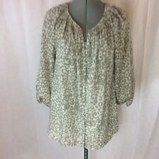 Ann Taylor LOFT Gray/Tan 3/4 Sleeve Polyester Blouse Size L