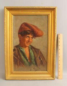 Antique ACHILLE PETROCELLI Italian Portrait Oil Painting Boy & Red Barretina Hat