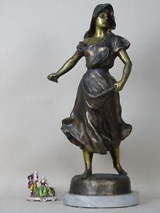 SCULTURA DAMA ANTIMONIO t BRONZO marmo 1800 XIX LIBERTY sc FRANCIA MOREAU GEMITO