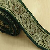Vintage saree Border Indian Green Used Sari 1YD Trim Embroidered Wrap Sewing