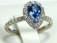 Blue Sapphire Ring 18K White Gold Pave Halo VS Heirloom GIA Appraised $4,786