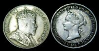 1893, 1910  British Ceylon  25 Cents   2 Silver Coins Great Deatails A37-309