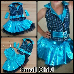 Small Child Blue Sequence Vest and Tutu Weissman Dance Costume