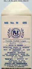 Reproducton ENVELOPE for VFL Park Members Football MEMBERSHIP MEDALLION 70's 80'