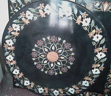 MARBLE 3' BLACK DINING COFFEE  CORNER CENTER ROUND TABLE TOP MOSAIC INLAY WORK