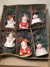 Vintage Set of 6 Christmas Porcelain Angel Figurine Bell Ornaments-Made in Japan