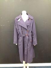 Hamells - Dark Purple Long Belted Mac Coat with Tartan Collar Trim UK 18 (U685)