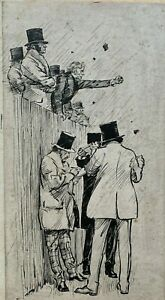 Political Rally c1880 ink drawing possibly for Punch