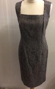 JAEGER Ladies Black White Sleeveless Lined Sheath Dress UK Size 12 US 10 BNWT