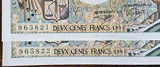 Suite de 2 Billets 200 francs MONTESQUIEU 1991 F.088 numéros consécutifs