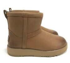 UGG Women's Classic Mini Waterproof Leather Boots 1019641 Chestnut Size 5
