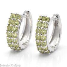 925 Sterling Silver Round Peridot Gemstone Elegant Huggie Earrings Jewelry 214PD
