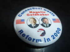 Connecticut Reform Party Pin Back Presidential Campaign Button Hagelin Flag