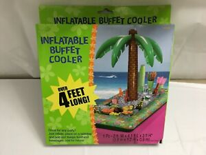 INFLATABLE BUFFET COOLER WITH PALM TREE TABLE TOP 4' LONG ICE DRINKS BEVERAGES