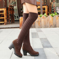 Womens Ladies Over The Knee Riding Flat Boots Calf Stretch Thigh High Size S