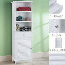 Tall Wooden Bathroom Cabinet Freestanding Storage Shelf Cupboard Unit White