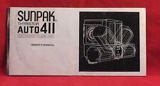 Vintage Sunpak Auto 411 Electronic Flash Unit Instruction Booklet