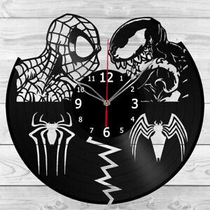 Vinyl Clock Spiderman vs Venom Vinyl Record Clock Home Decor Handmade 1315