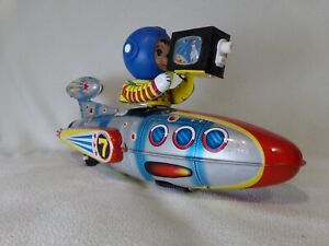 Vintage Rocketship Universe Televiboat Battery Operated Tin Toy -Fully Working