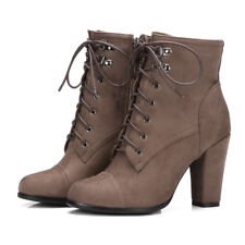 Combat Ankle Martin Boots For Women Suede Chunky High Heel Booties Shoes US 6