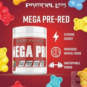 Primeval Labs MEGA PRE RED Preworkout Powder 40 Servings GUMMY BEAR FLAVOR