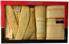 PIERRE CARDIN LUXURY 4 PIECE BATHROBE TOWEL SET AZTEC MINK JACQUARD 100% COTTON