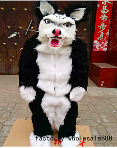 Black Long Fur Husky Dog Mascot Costume Suits Fox Adults Size Cosplay Dress gift