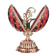 Russian Decorative Faberge Egg Peacock with Flowers & Pendant 4.7' (12cm) red