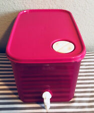 Tupperware Rectangle Bucket w/ Spout 6.5 Pink White Spout 11 x7 x7 New