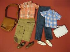 2 KEN DOLL barbie Fashion Outfit Clothes/Shoes-PEACH/BLUE PLAID SHIRT LOAFERS++