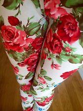 LARGE Coral Blue Tan ROSES FLORAL leggings COTTON Juniors PLUS 1X 2X 3X