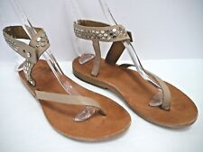 CALLEEN CORDERO beige leather silver metal studded flat sandals size 7.5