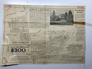 Antique Original 1919 Advertisement Plan for Lots in Knollwood, Medford, Mass.