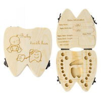 Kids Children Tooth Wooden Storage Box Baby Teeth Holder Keepsake Organizer Case