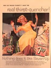 1959 7Up Seven-Up Soda Ad- Pretty Blonde Woman Riding Carousel - Merry Go Round