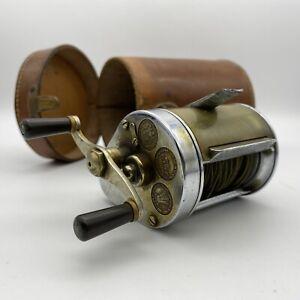 vintage hardy bros elarex casting fishing reel + splashguard, leather case