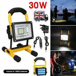 LED Portable Work Light Rechargeable Cordless Outdoor Spotlights Camping Lamp