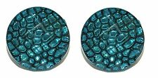 """Acrylic Cuff Links (193a) 3/4"""" Round Teal Pebble Pattern"""