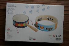 Sevi Mini Set Musical, jeu d'éveil, tambourin à cymbales et tambourin 2 faces